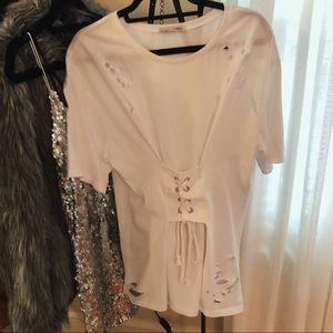 White Zara Lace Up T-Shirt
